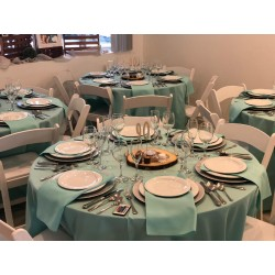 "Round Tablecloth 108"" Polyester  (More 40 Colors Available)"